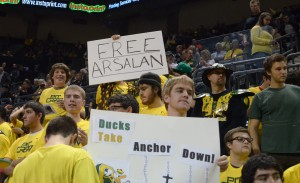 Oregon Pit Crew student fans support Arsalan Kazemi on the night of his debut as a Duck. (Photo by Rockne Andrew Roll)