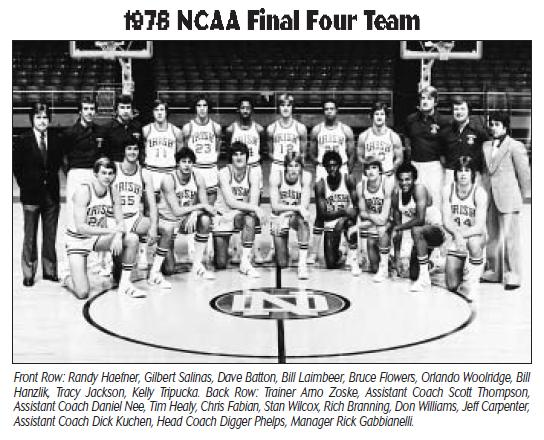 Laimbeer at Notre Dame (Credit: Notre Dame Media Guide)