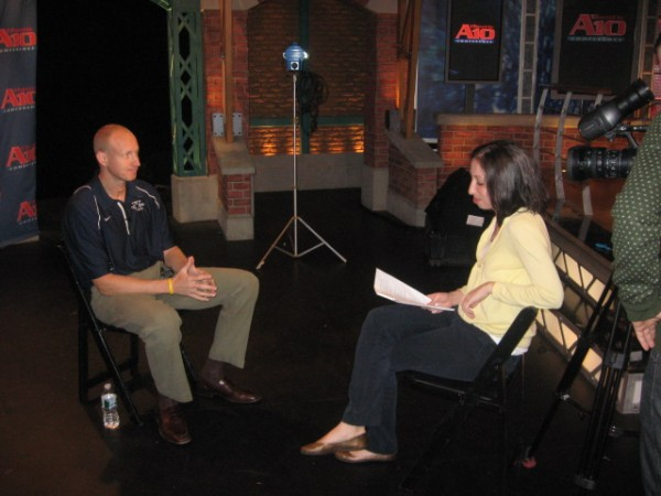 Chris Mack of Xavier answers questions for a studio interview.