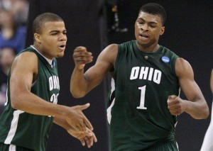 Reggie Keely, DeVaughn Washington and th Ohio Bobcats famously sent Georgetown packing last March (AP/Elise Amendola)