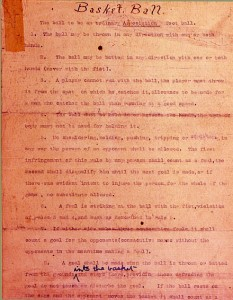 Unfortunately, James Naismith's original rules don't address palming the ball or the need for a charge circle.