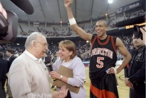 Pete Carril and Sydney Johnson celebrate the win over UCLA.