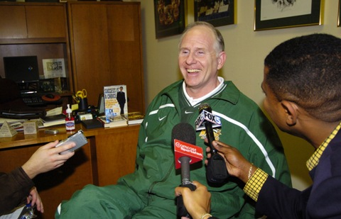 Larranaga is All Smiles After an Upset Win (Credit: Nick Wass/Associated Press)