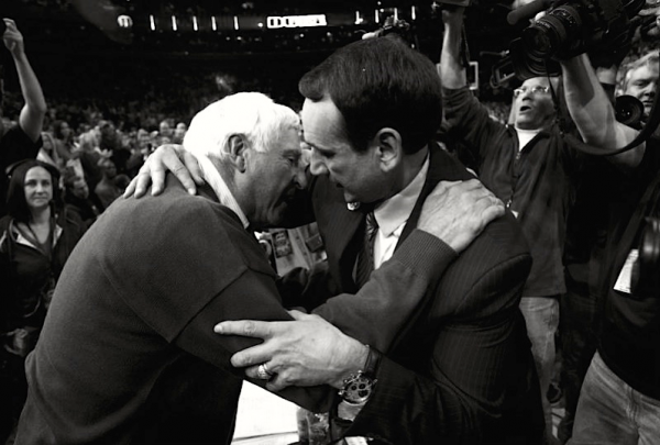 Soon Krzyzewski will have to pass the torch to another, much like Bob Knight did here (Credit: dukebasketballneverstops)