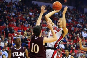 Senior guard/forward Chace Stanback leads #23 UNLV with 14.5 PPG. (credit: Sam Morris))