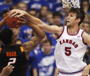 Jeff Withey is a Defensive Force With a New Found Offensive Game for KU (AP Photo)