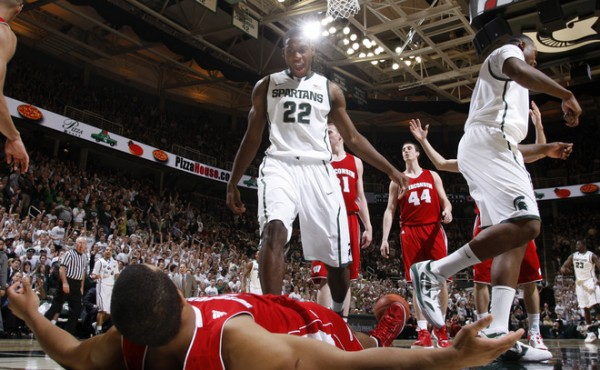 Branden Dawson (left) could be dominant for Michigan State in his final season in East Lansing. (Al Goldis/AP)