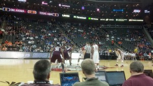 Texas A&M used a late run to defeat Oklahoma in the first round of the Big 12 Tournament.