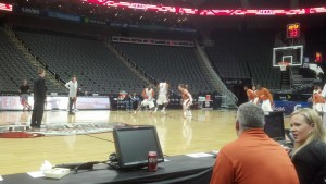Texas worked on defending Scott Christopherson and the dribble handoff for several minutes.