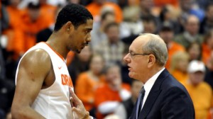 After Being in Coach Boeheim's Doghouse For One Season, Fab Melo (left) Improved Dramatically as a Sophomore (AP Photo)