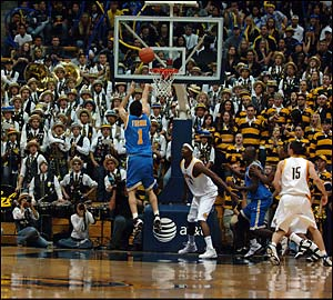 The Potential On This Year's Roster Should Have Cal Fans Packing Haas Pavilion On A Regular Basis, Like On This Unknown Night When Jordan Farmar Is Attempting To Convert A Jumper Into The Teeth Of The Straw Hat Band. (credit: Arun Nevader)