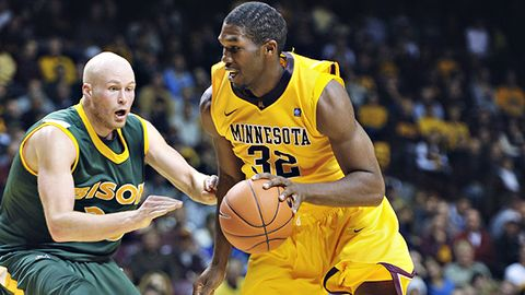 Trevor Mbakwe and the Gophers need to figure out their issues on the offensive end of the court against Purdue. (credit: AP Photo)