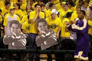 McArthur Court Would Get So Loud That At Some Points The Baskets And Overhead Scoreboard Would Begin Shaking. Here, The Pit Crew Taunts Washington Guard Nate Robinson With Chants And Posters Of Gary Coleman. (credit: Chris Pietsch)