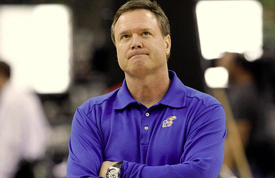 Bill Self is being questioned after another early exit from the NCAA Tournament. (Photo credit: AP Photo).