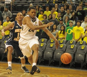 Willie Moore loses control of his dribble as the Ducks take on Northern Arizona in their home opener.
