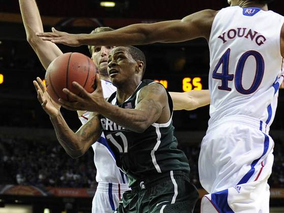 Keith Appling needs to stay on the floor if the Spartans hope to beat the Hoosiers tonight.(Paul Abell/US Presswire)