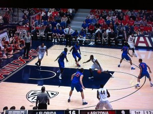 Arizona gets the ball to the middle with an option for a pull up jumper or lob to the basket.