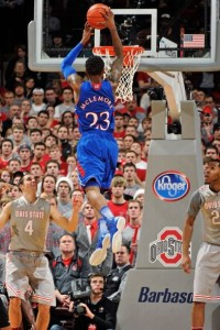 The Jayhawks are flashed their Final Four potential, and McLemore\'s insane range of skills, in beating Ohio State on the road (Photo credit: Getty Images).