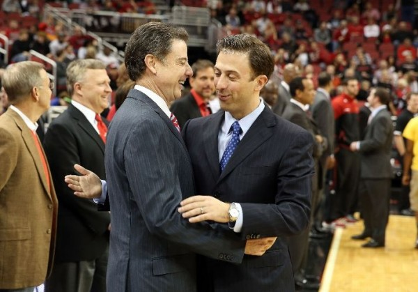 The elder Pitino was all smiles after dispatching son Richard\'s FIU team (Photo credit: Getty Images)