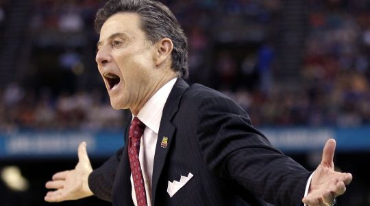 Rick Pitino clashes with in-state rival Kentucky and its coach, John Calipari yet again (AP).