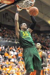 Oregon center Tony Woods is the fulcrum of the Ducks' much-improved defense. (Photo by Rockne Andrew Roll.)