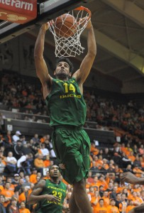 Despite a lingering concussion, Oregon's Arsalan Kazemi capped the Ducks' Civil War win over Oregon State with a last-minute slam. (Photo by Rockne Andrew Roll.)