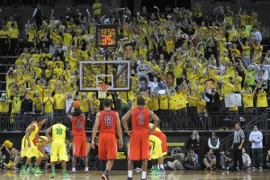The Pit Crew, Oregon's student section, stretched to the rafters and were a big factor in the upset win. (Photo by Rockne Andrew Roll)