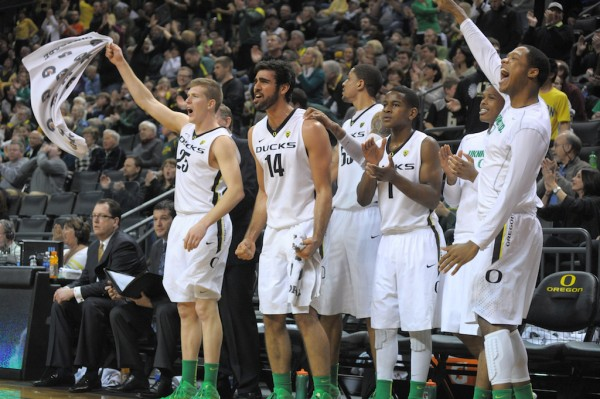 Singler (at far left) and the rest of the Ducks celebrate a Carlos Emory slam dunk.(Photo by Rockne Andrew Roll)