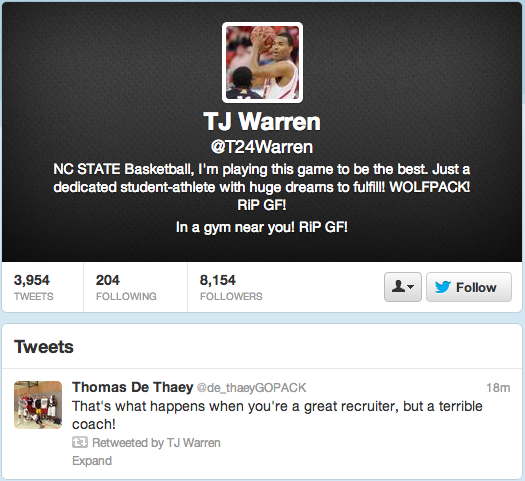 TJ Warren may want this retweet back.