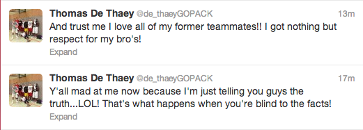 DeThaey isn't backing down.