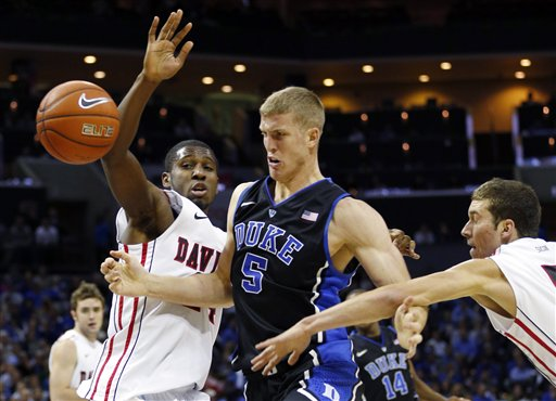 Mason Plumlee was hassled all night by Davidson's defense.