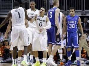 Miami crushed Duke, 90-63, earlier in ACC play but still find themselves ranked below the Blue Devils. (AP Photo)
