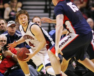 Can Matthew Dellavedova And His Prominent Mouthpiece Lead the Gaels to a Much-Needed Win Over Creighton? (Las Vegas Sun / Sam Morris)