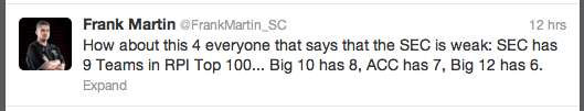 Frank Martin says the SEC deserves way more credit than it has received.