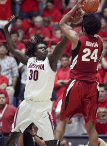 With Other Arizona Bigs Limited By Circumstance, Angelo Chol Stepped Up Against Stanford (Mamta Popat/Arizona Daily Star)