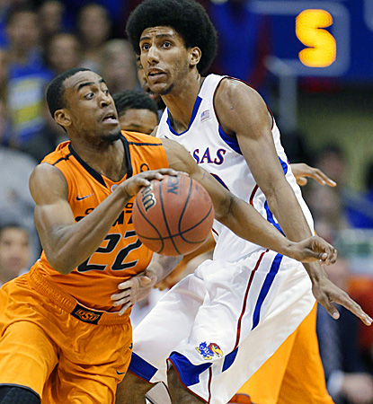 Markel Brown led the Cowboys in a rare win in Allen Fieldhouse (AP)