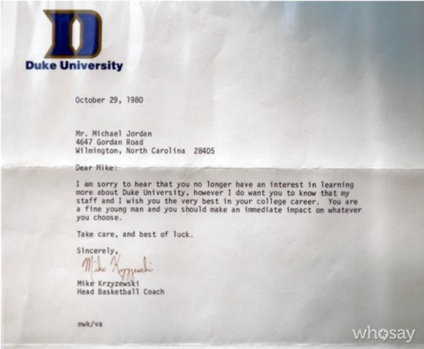 Coach K concedes defeat in the recruitment of Michael Jordan. (h/t: Darren Rovell)
