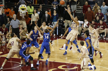 Olivier Hanlan and Boston College pushed Duke to the limit on Sunday in Conte Forum. (Greg M. Cooper-USA TODAY Sports)