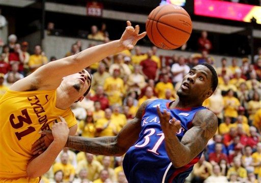 For the second time in a row, ISU played Kansas into overtime and lost (AP).