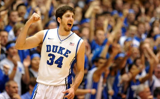 Ryan Kelly celebrates for the Blue Devils