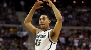 Denzel Valentine #45 of the Michigan State Spartans reacts in the first half against the Valparaiso Crusaders. (Getty)