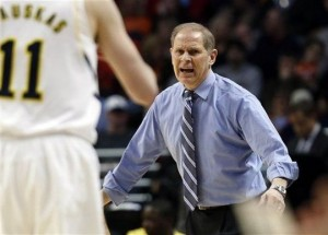 Michigan head coach John Beilein reacts during the first half of an NCAA college basketball game at the Big Ten tournament against Penn State. (AP)