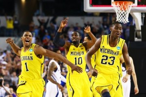 Storming back in the final moments to tie Kansas, then win in overtime, Michigan's resolve and determination down the stretch was something to behold (Getty Images).