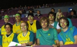 Gael stalwarts Mitchell Young and Matthew Dellavedova, on the right above, have been together since playing youth basketball in Australia. They are pictured at a 2007 match between Australia and New Zealand featuring another Gael star, Patty Mills. Also pictured next to Young is Kate Gaze, who plays for the Saint Mary's women's team, and Jorden Page, who came to Saint Mary's with Dellavedova and Young. In the row behind them looking over Gaze's shoulder in a baseball cap is Clint Steindl, another Aussie who starred for Saint Mary's.