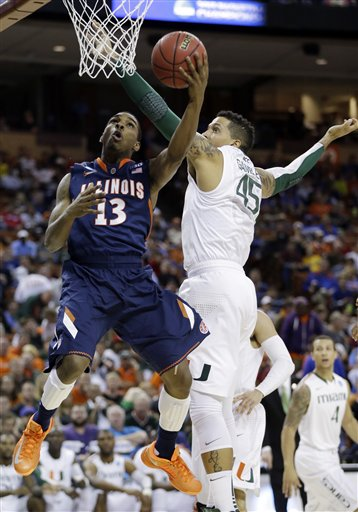 Miami Outlasted the Surging Illini Sunday (AP Photo/Eric Gay)
