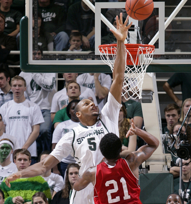 Adreian Payne and Sparty advanced to Sunday in a hard fought game. (AP Photo/Al Goldis).