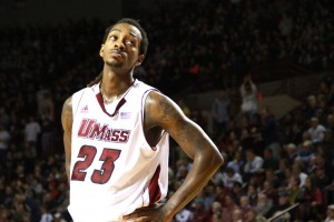 While Chaz Williams starred, it was a lack of a stellar supporting cast that doomed UMass. Senior Freddie Riley (40% FG, 52.9% FT) is one such example. (Taylor C. Snow/The Daily Collegian)