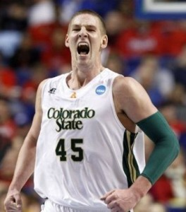 Much like his expression, Colton Iverson and the rest of the Rams played like they wanted their season to continue. (AP)