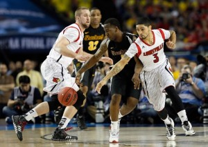 After limiting turnovers for most of the game, Wichita State couldnt hold firm in the face of Louisville's defensive pressure down the stretch (Getty Images).