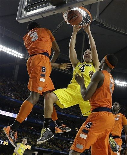 Another strong performance in an overall brilliant Tournament from McGary helped Michigan break through Saturday night (AP Photo).